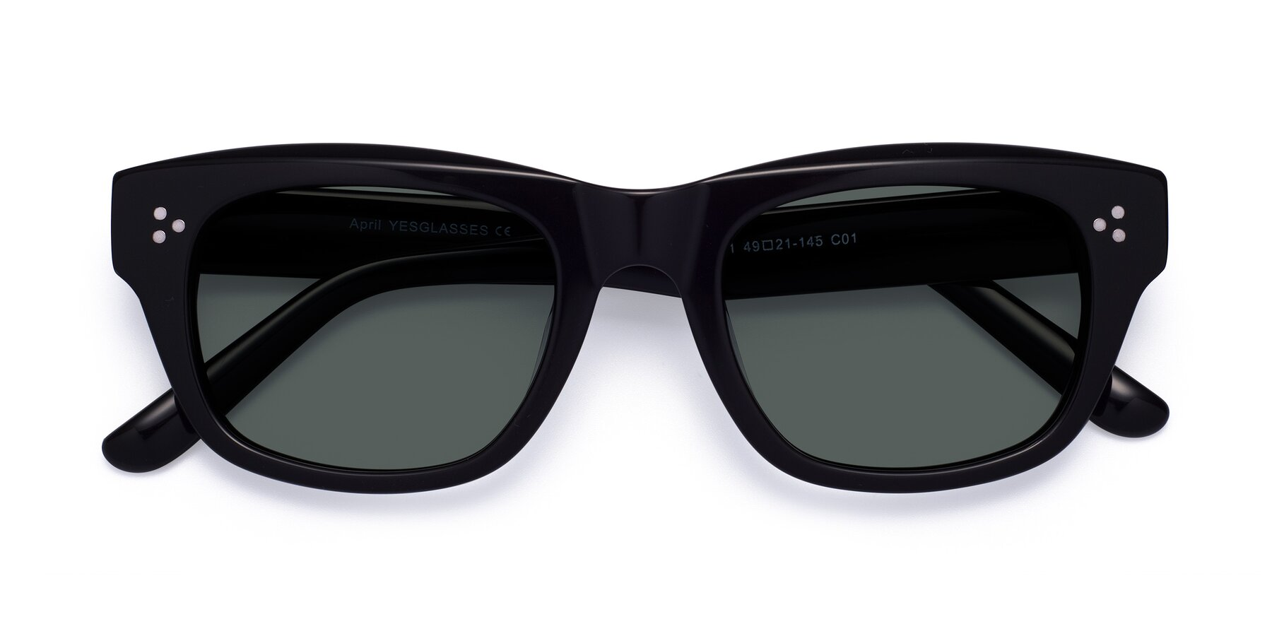 Folded Front of April in Black with Gray Polarized Lenses