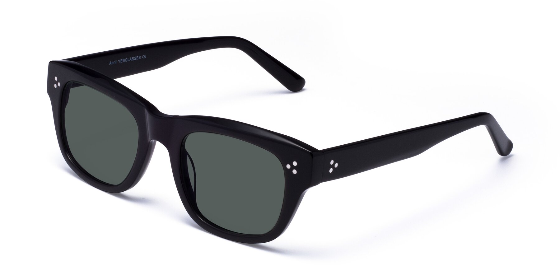 Angle of April in Black with Gray Polarized Lenses