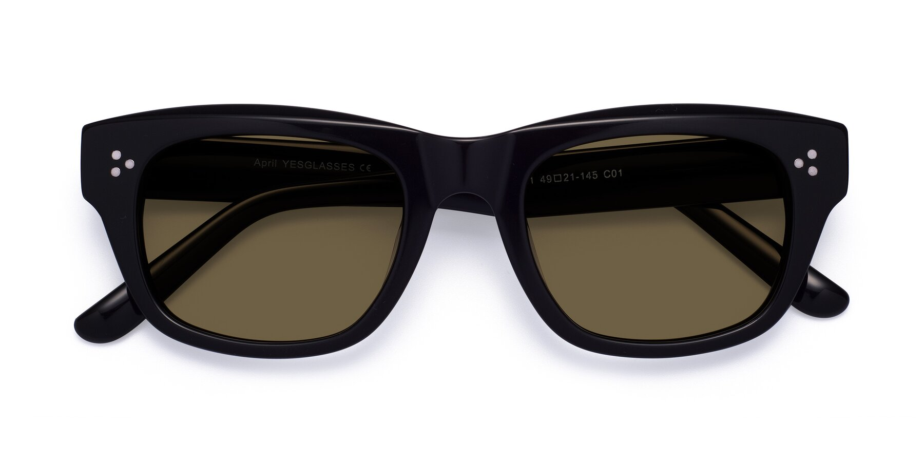 Folded Front of April in Black with Brown Polarized Lenses