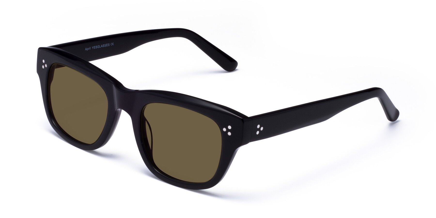 Angle of April in Black with Brown Polarized Lenses