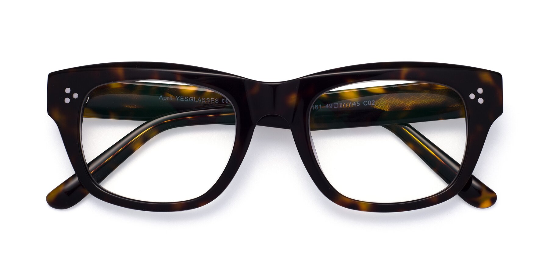 Folded Front of April in Tortoise with Clear Eyeglass Lenses