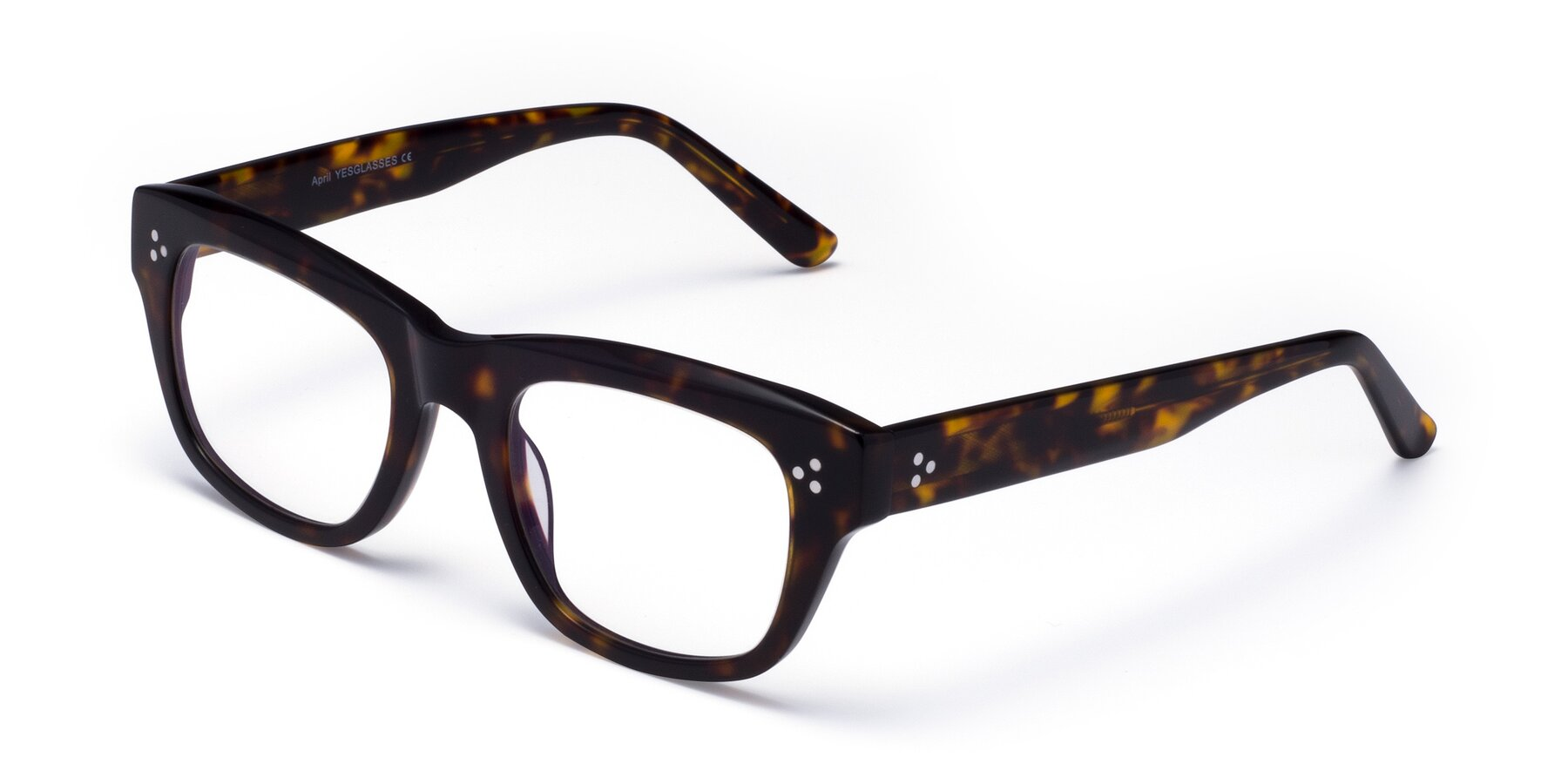 Angle of April in Tortoise with Clear Eyeglass Lenses
