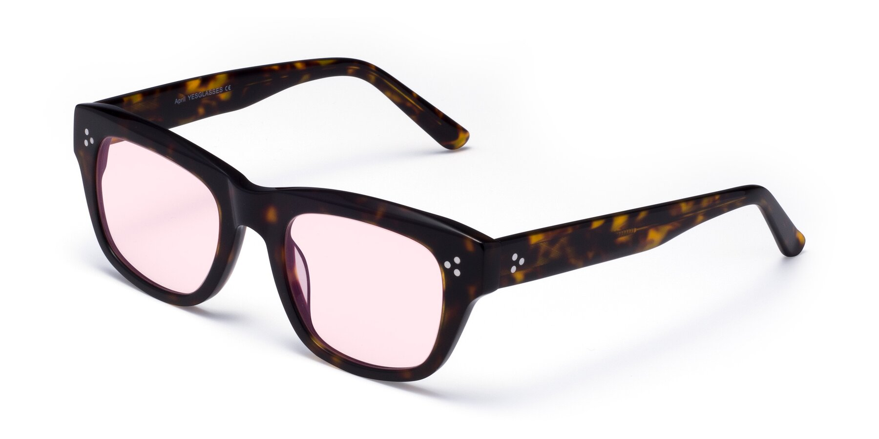 Angle of April in Tortoise with Light Pink Tinted Lenses