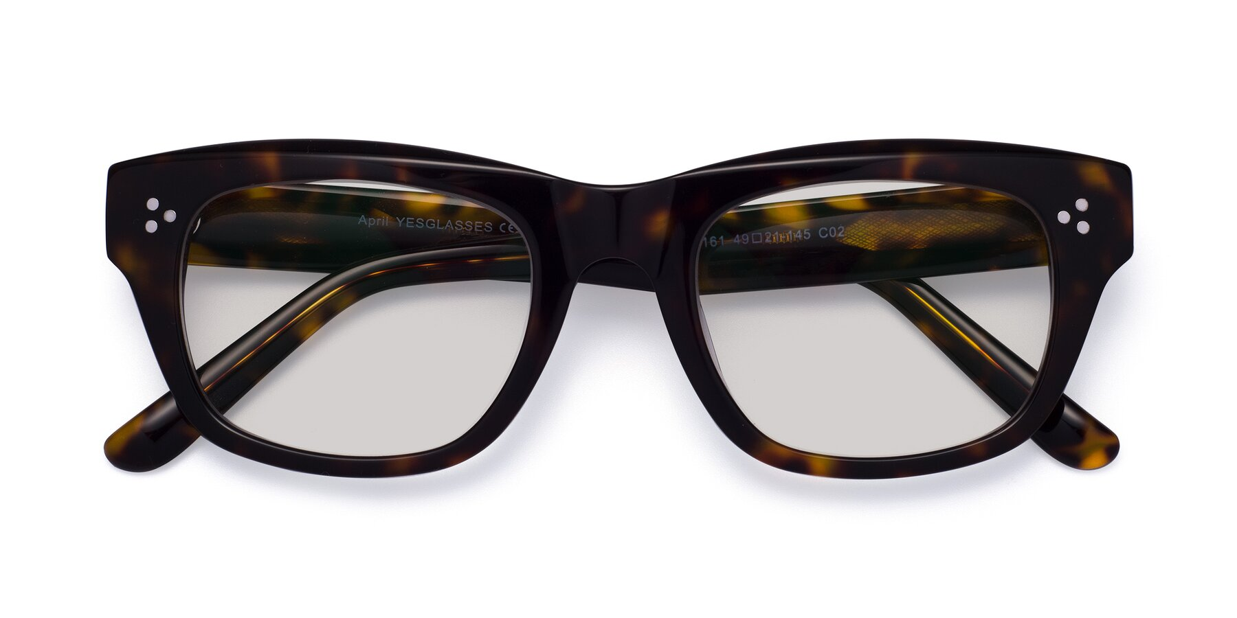 Folded Front of April in Tortoise with Light Gray Tinted Lenses