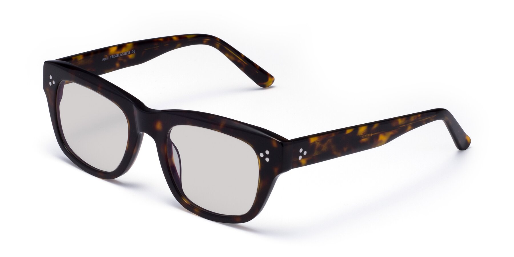 Angle of April in Tortoise with Light Gray Tinted Lenses