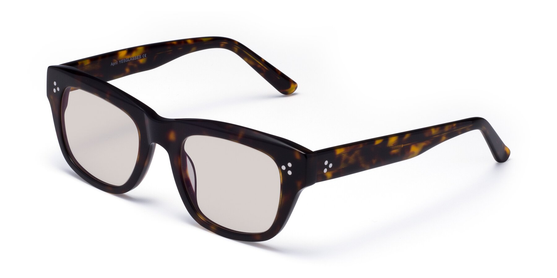 Angle of April in Tortoise with Light Brown Tinted Lenses