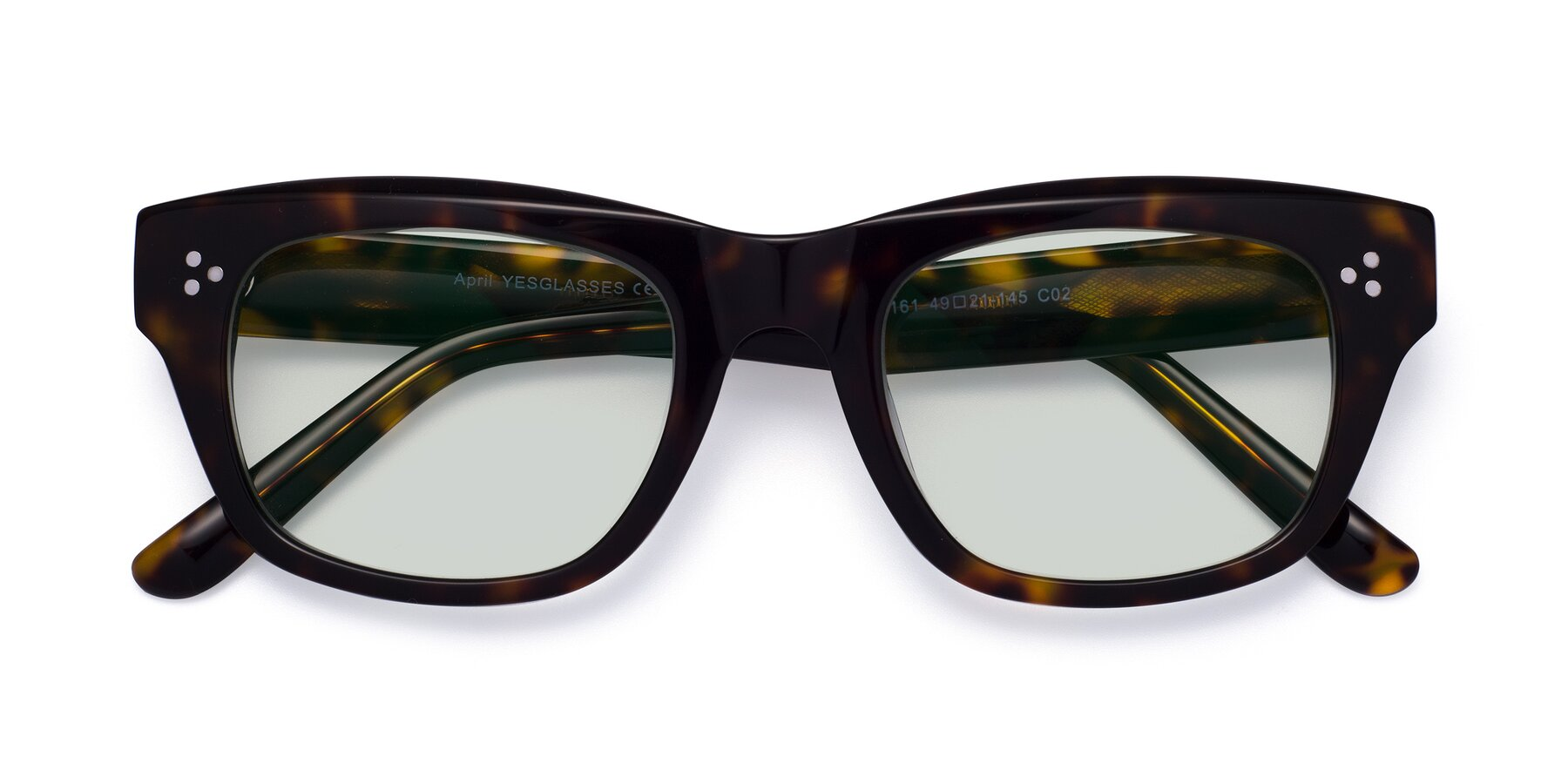 Folded Front of April in Tortoise with Light Green Tinted Lenses