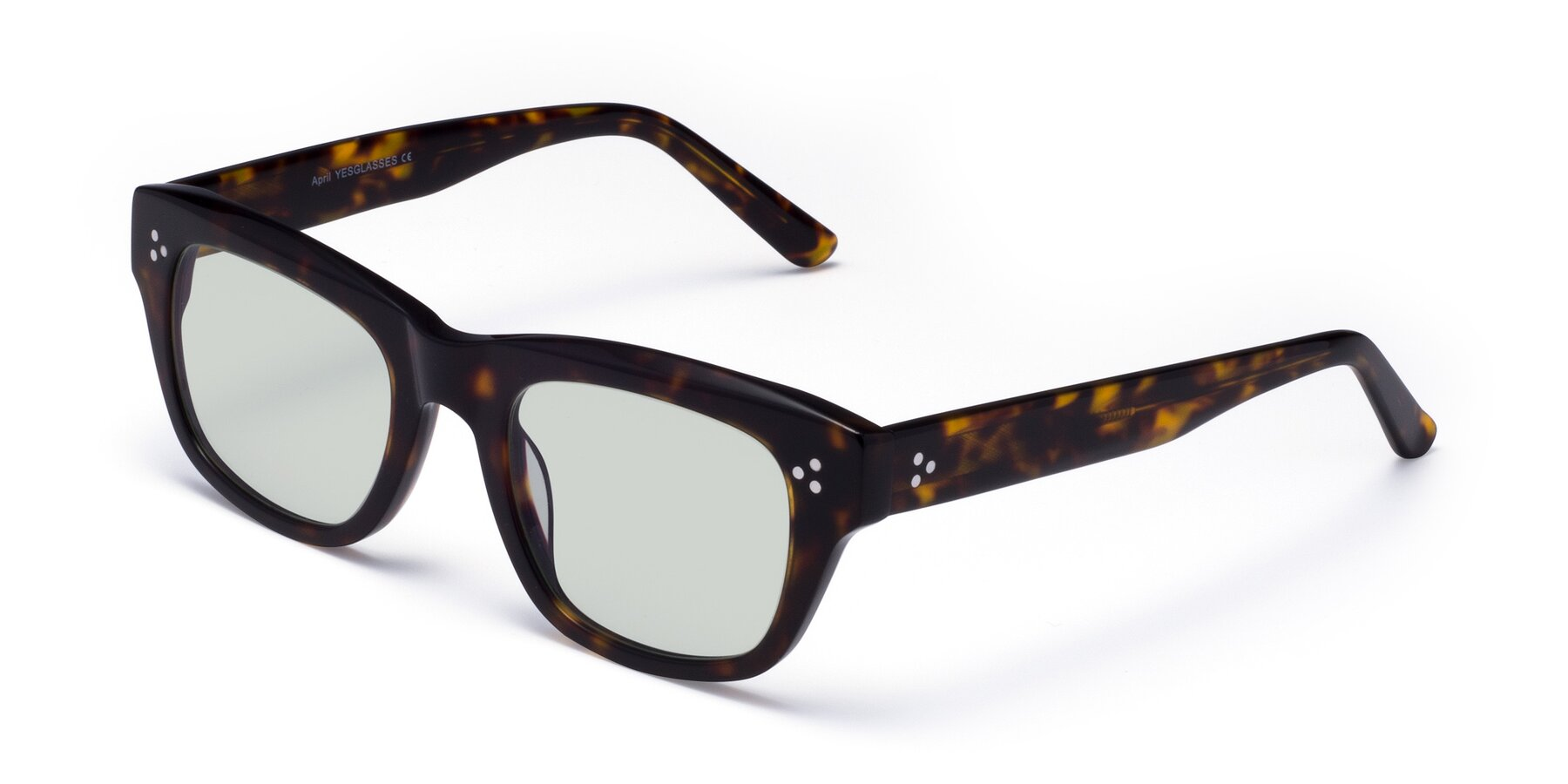 Angle of April in Tortoise with Light Green Tinted Lenses