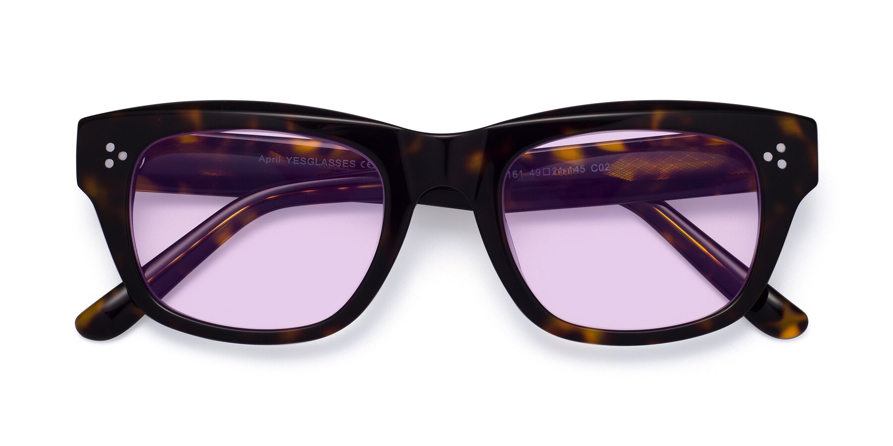 Folded Front of April in Tortoise with Light Purple Tinted Lenses