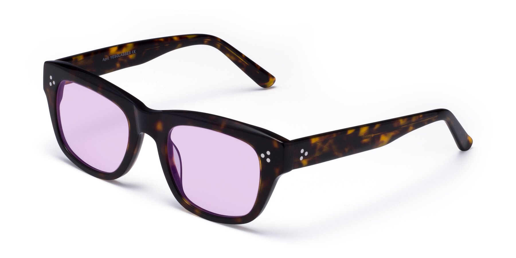 Angle of April in Tortoise with Light Purple Tinted Lenses