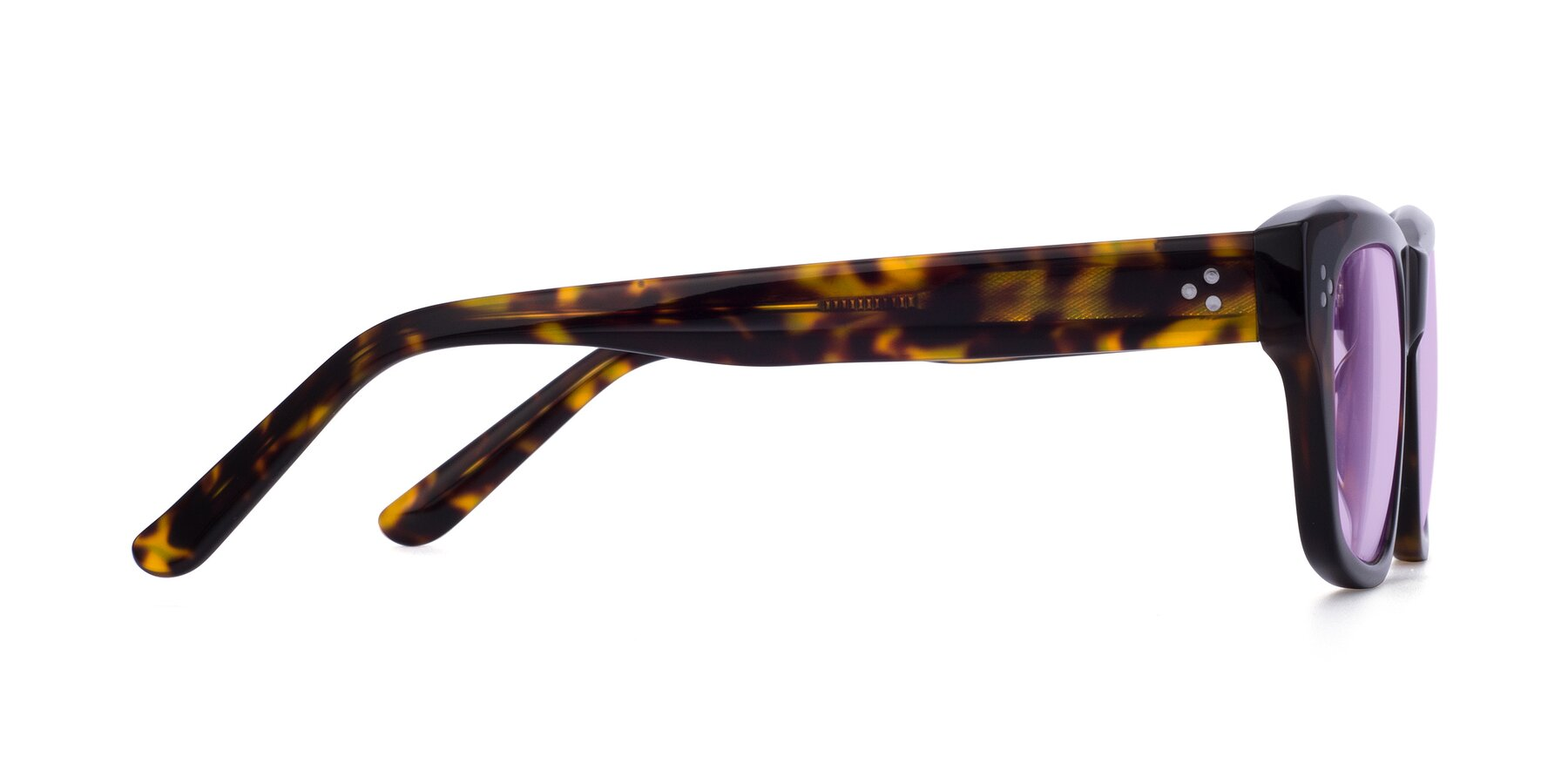 Side of April in Tortoise with Light Purple Tinted Lenses