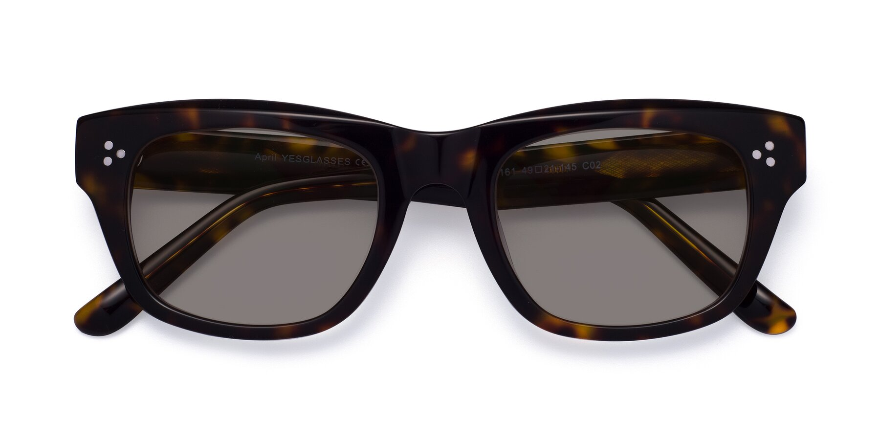 Folded Front of April in Tortoise with Medium Gray Tinted Lenses