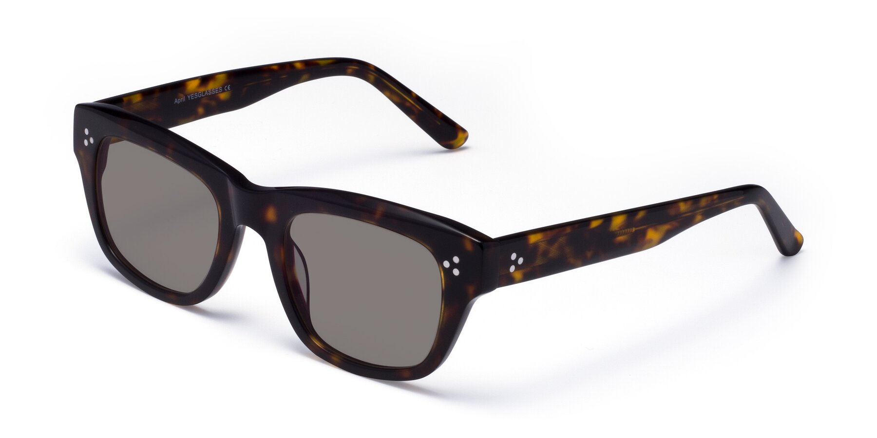 Angle of April in Tortoise with Medium Gray Tinted Lenses