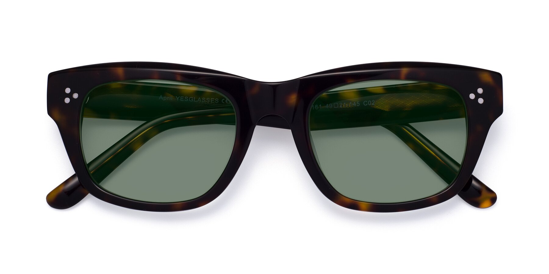 Folded Front of April in Tortoise with Medium Green Tinted Lenses