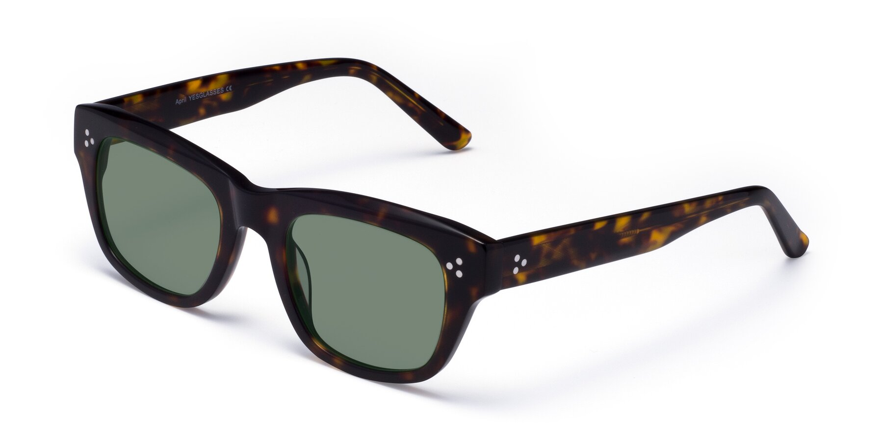 Angle of April in Tortoise with Medium Green Tinted Lenses
