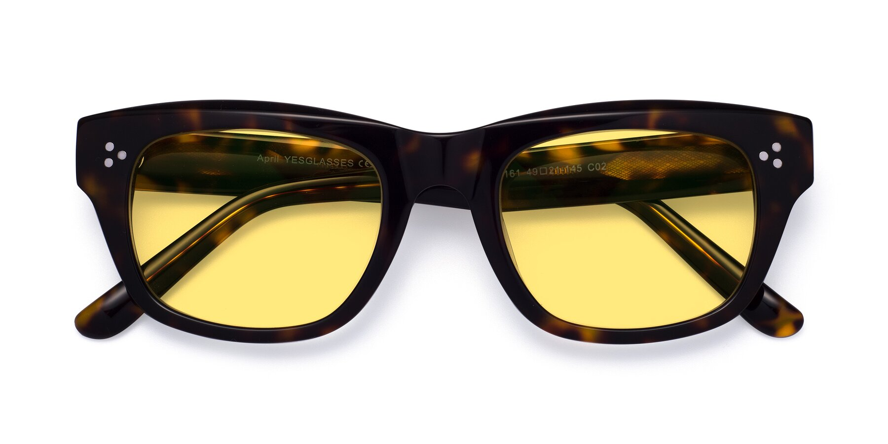 Folded Front of April in Tortoise with Medium Yellow Tinted Lenses