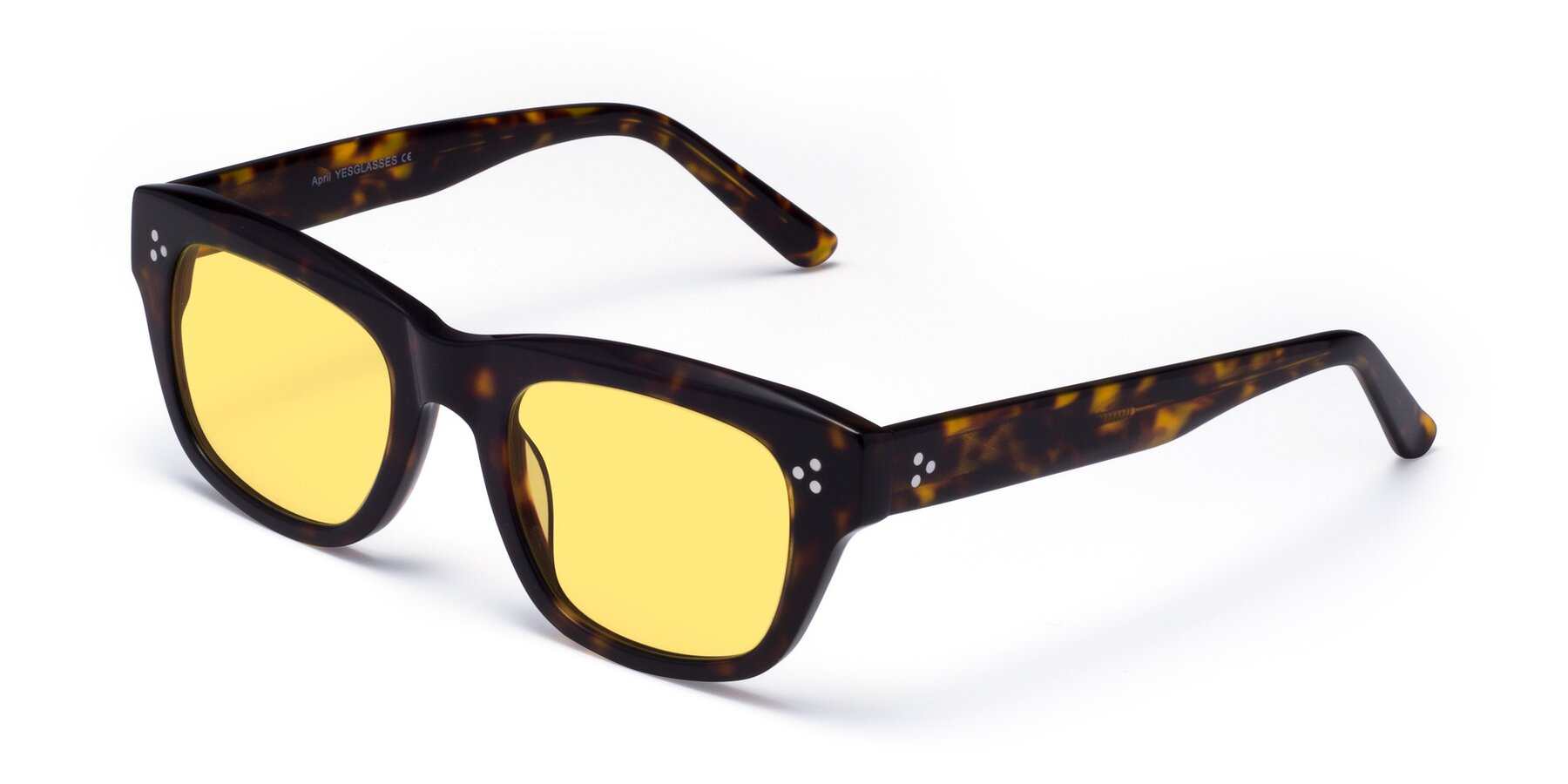 Angle of April in Tortoise with Medium Yellow Tinted Lenses