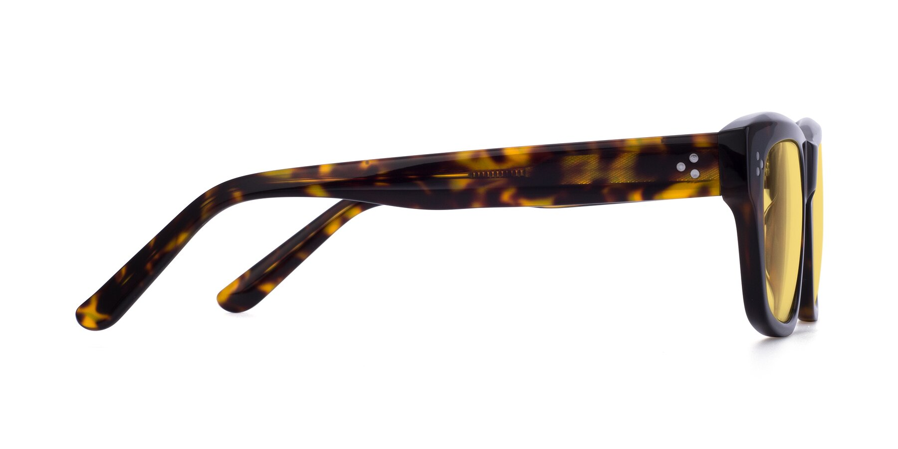 Side of April in Tortoise with Medium Yellow Tinted Lenses