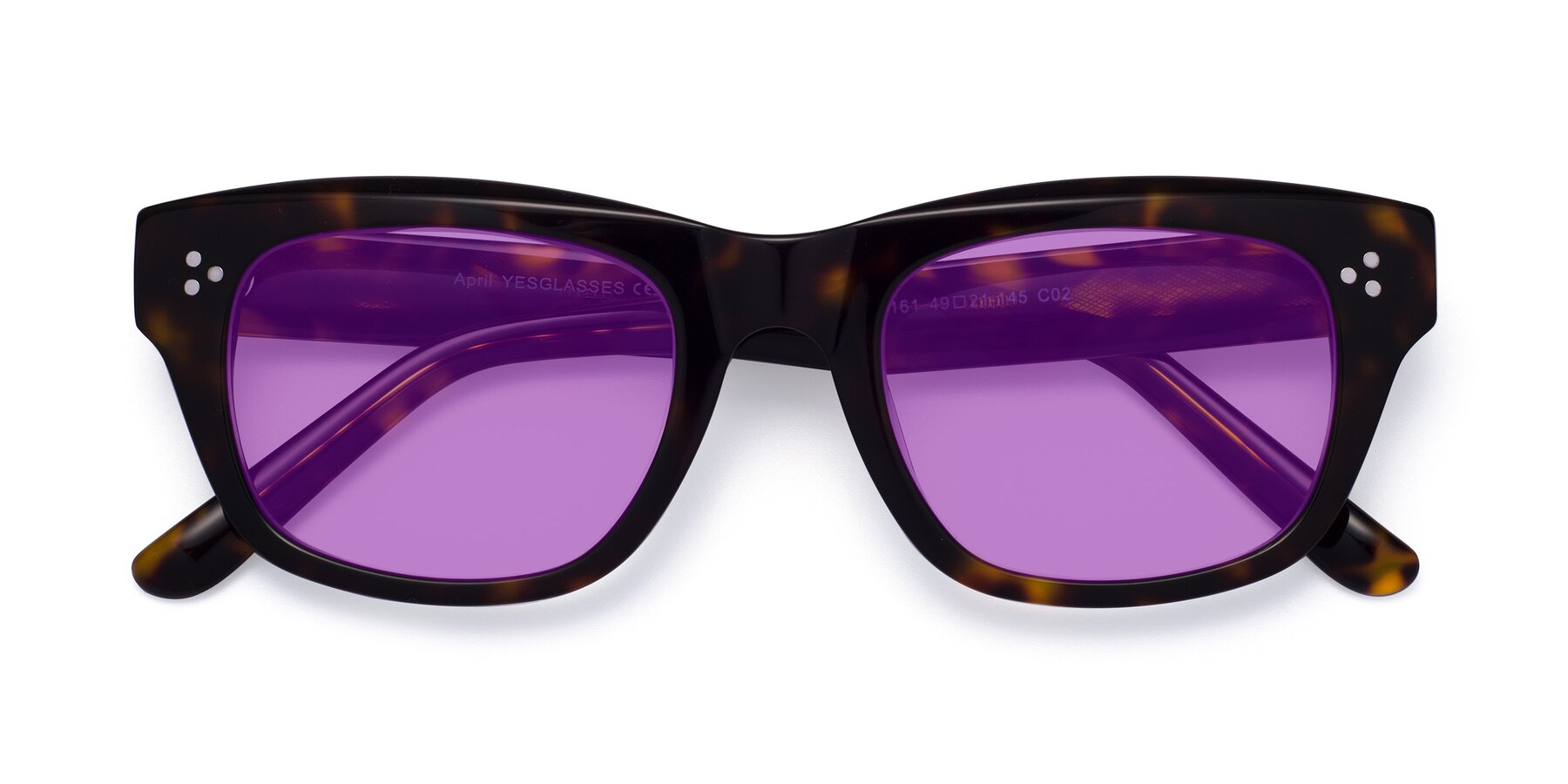 Folded Front of April in Tortoise with Medium Purple Tinted Lenses