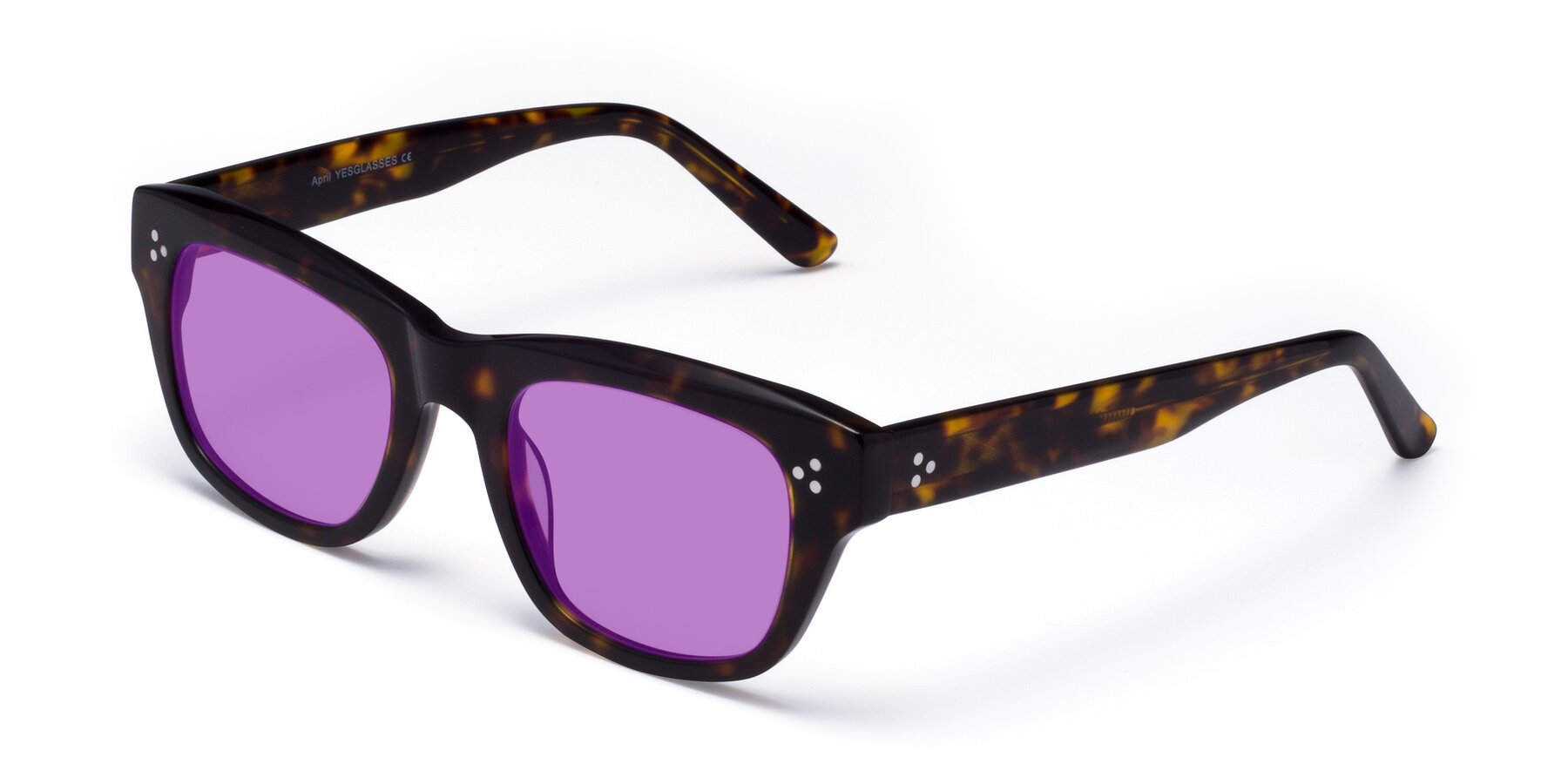 Angle of April in Tortoise with Medium Purple Tinted Lenses