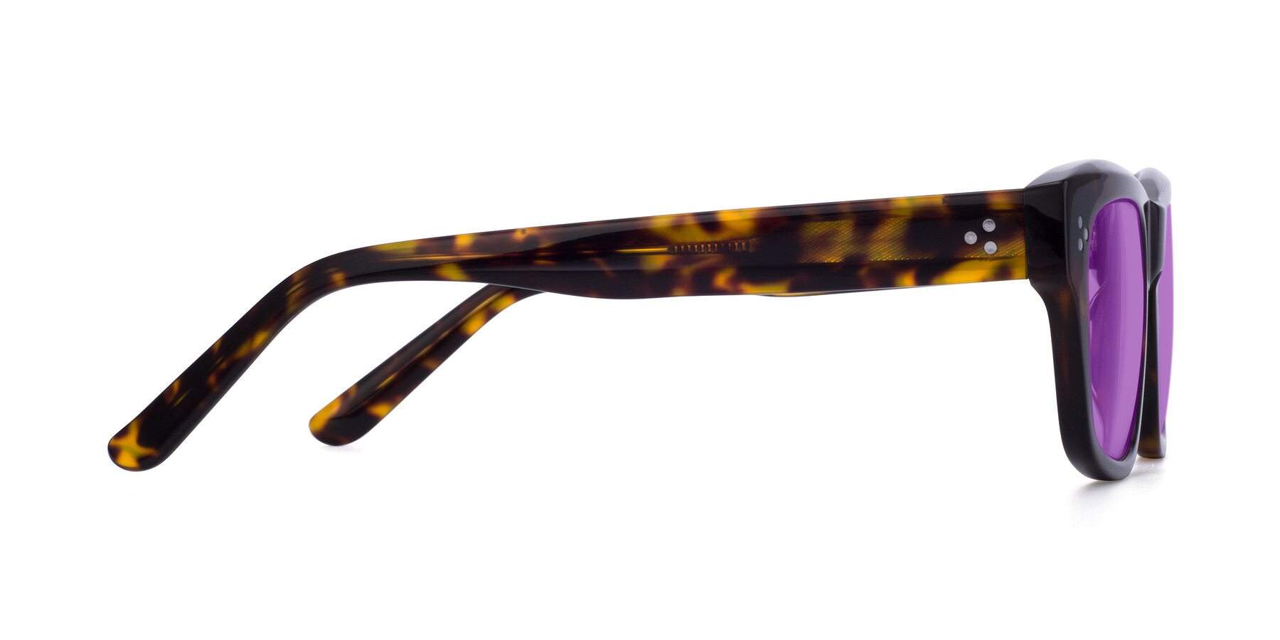 Side of April in Tortoise with Medium Purple Tinted Lenses