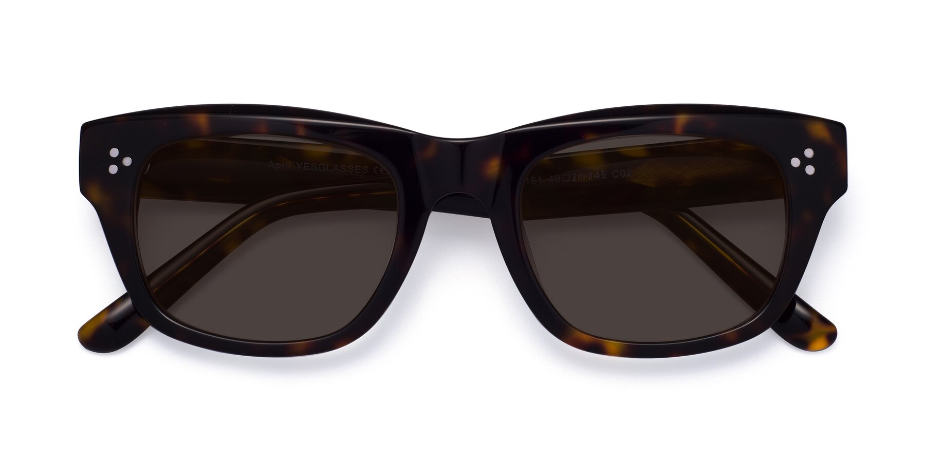Folded Front of April in Tortoise with Gray Tinted Lenses