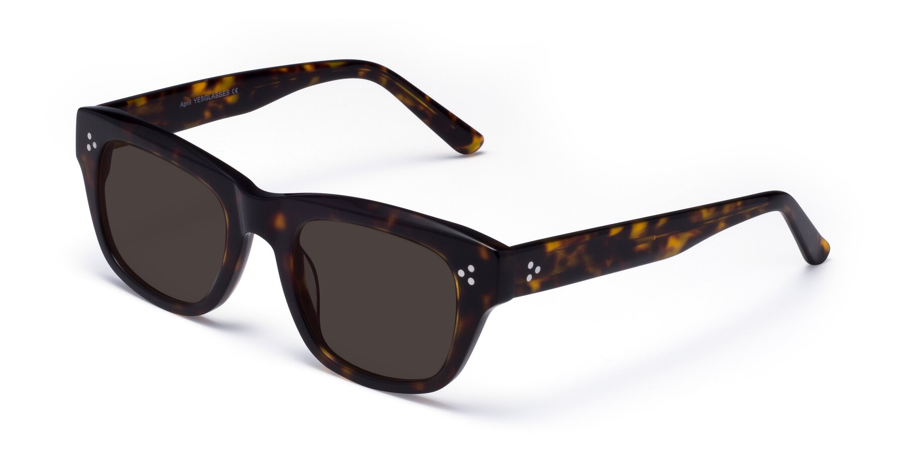 Angle of April in Tortoise with Gray Tinted Lenses