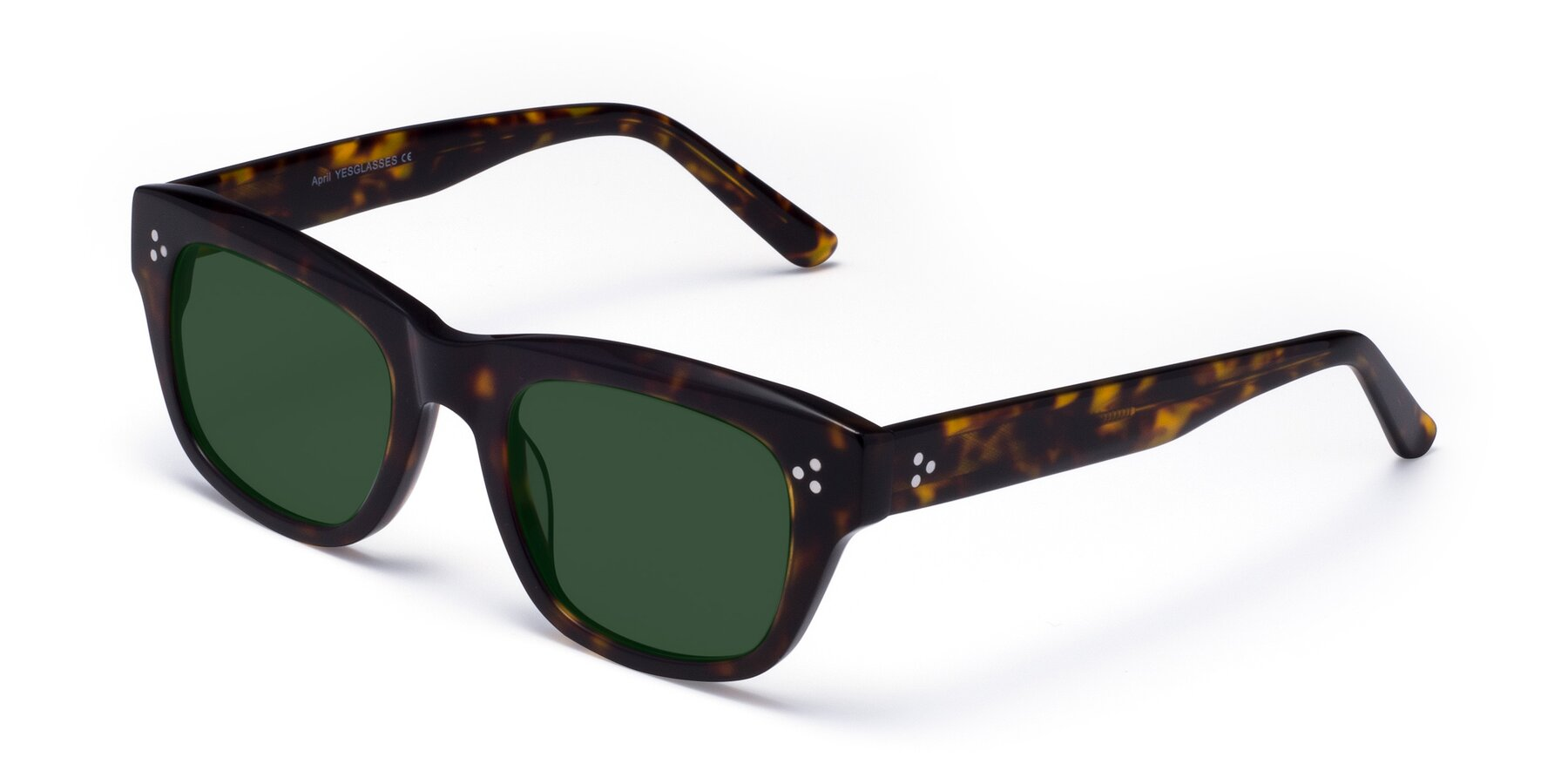 Angle of April in Tortoise with Green Tinted Lenses