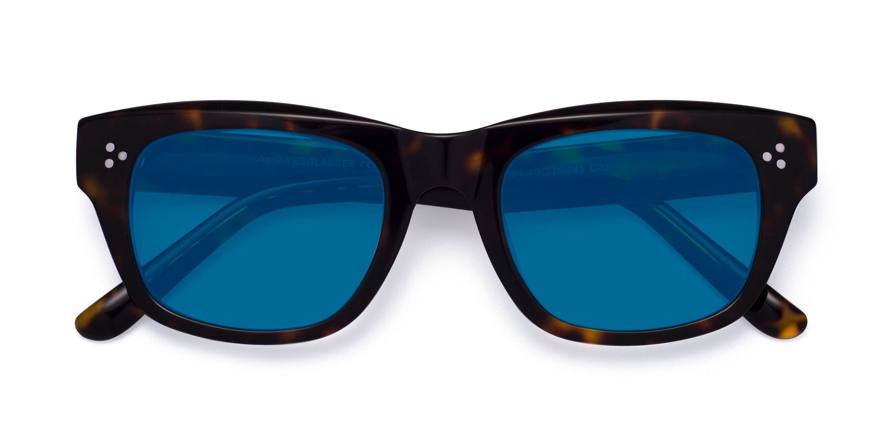 Folded Front of April in Tortoise with Blue Tinted Lenses