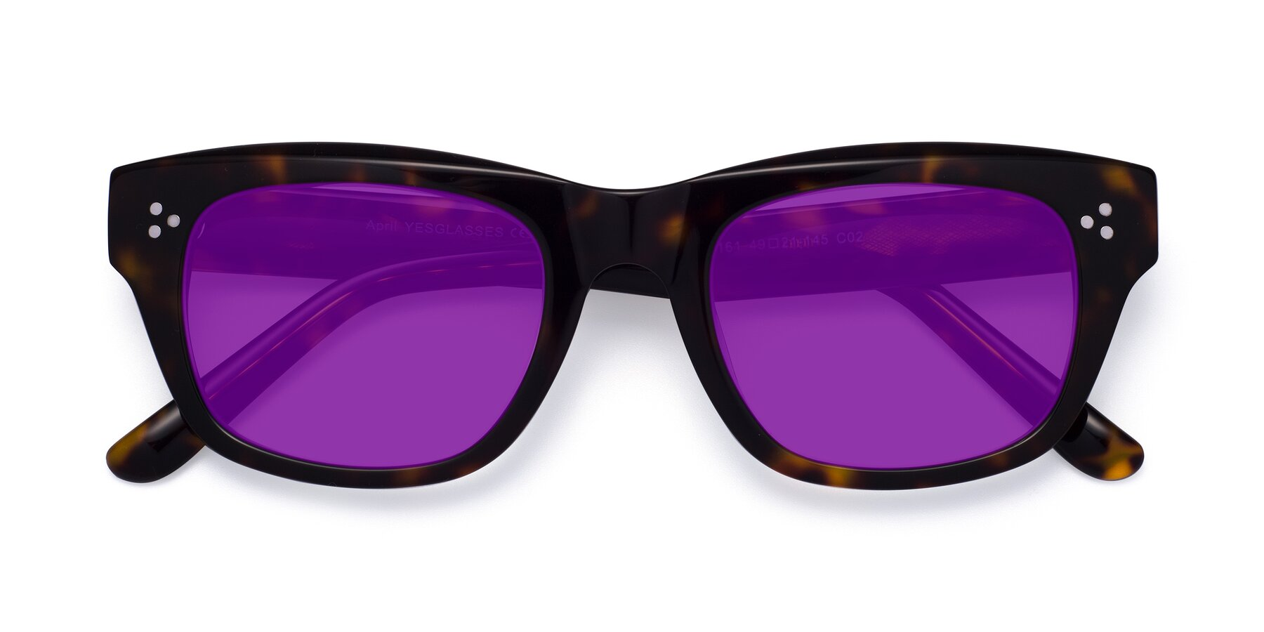 Folded Front of April in Tortoise with Purple Tinted Lenses