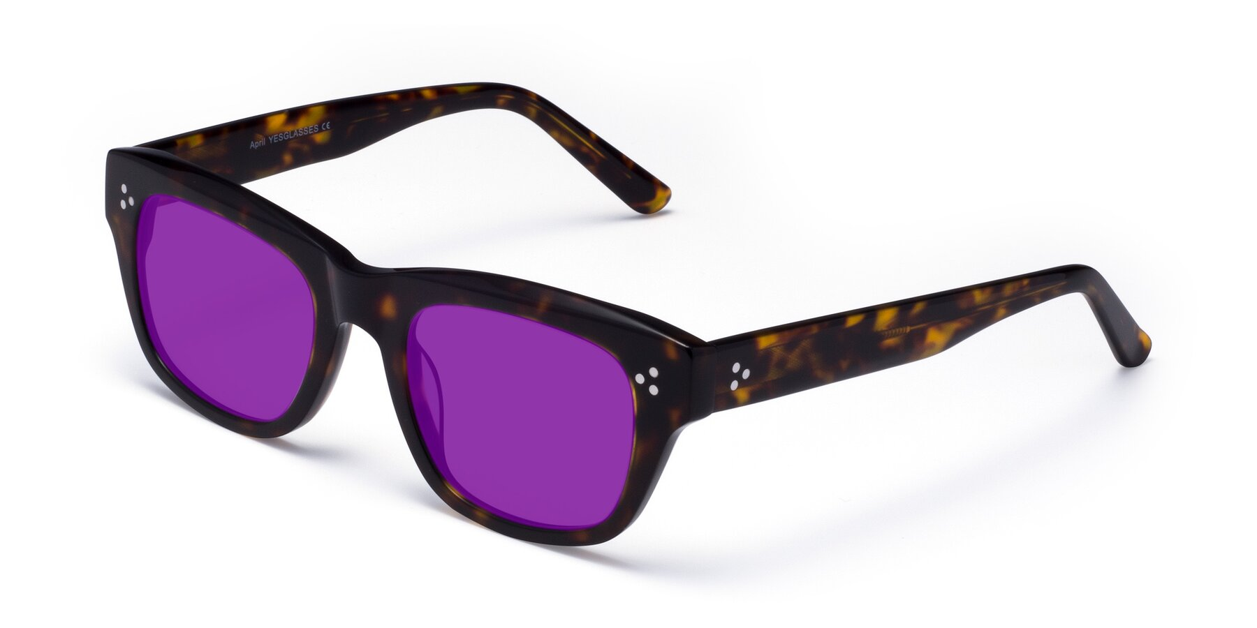 Angle of April in Tortoise with Purple Tinted Lenses