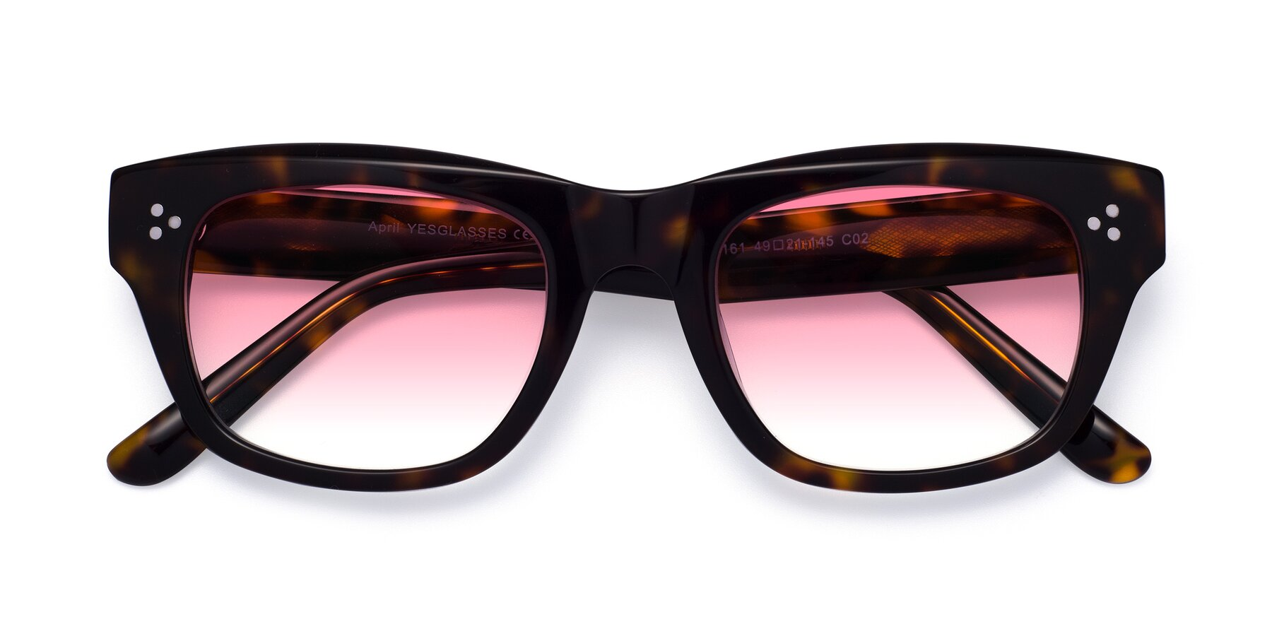 Folded Front of April in Tortoise with Pink Gradient Lenses