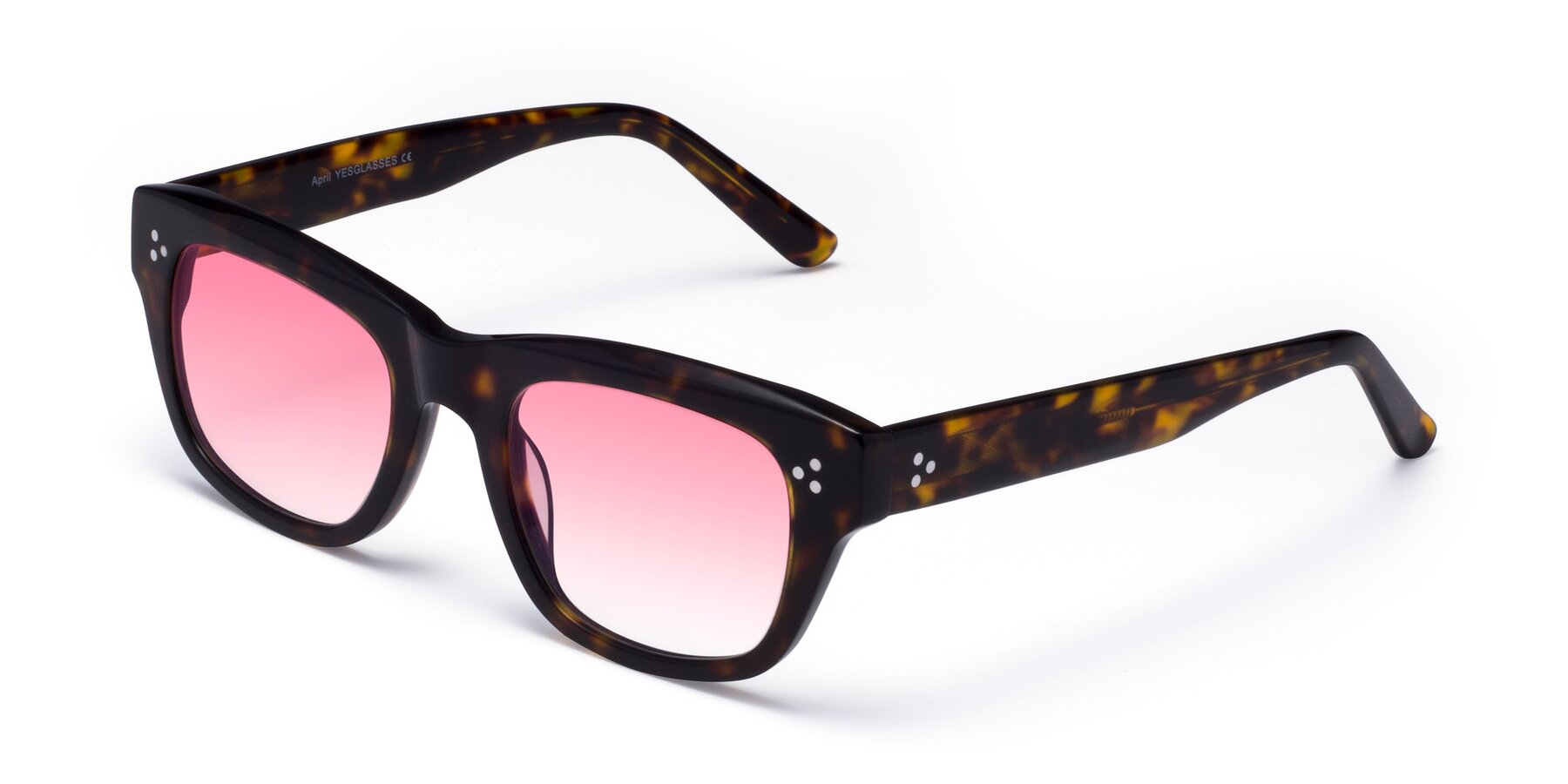 Angle of April in Tortoise with Pink Gradient Lenses