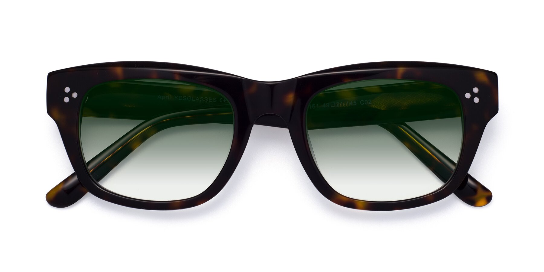 Folded Front of April in Tortoise with Green Gradient Lenses