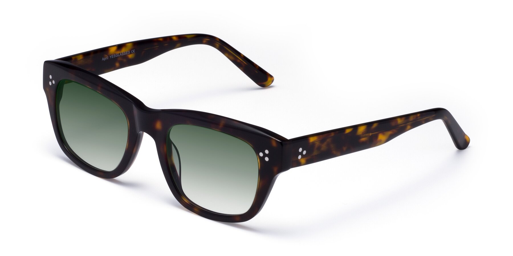 Angle of April in Tortoise with Green Gradient Lenses