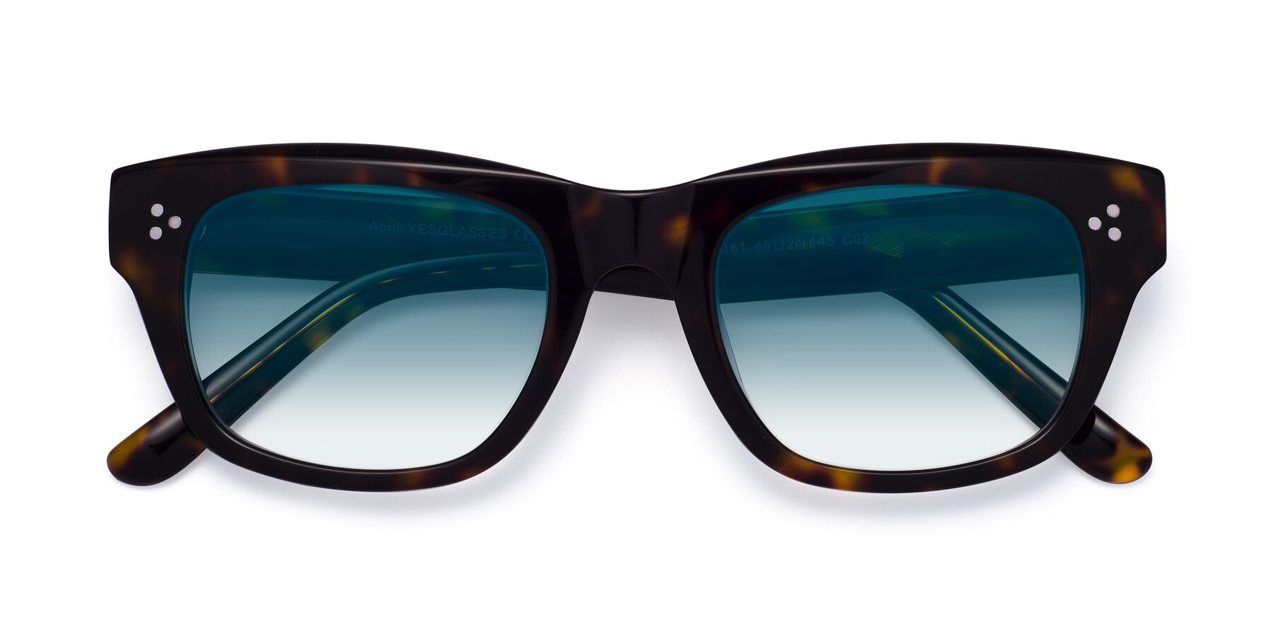 Folded Front of April in Tortoise with Blue Gradient Lenses