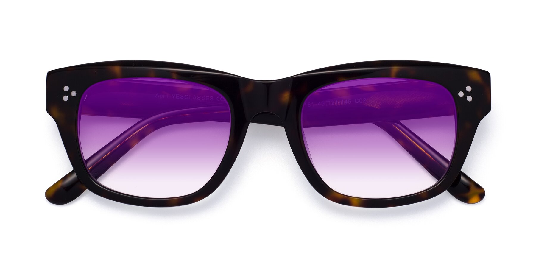 Folded Front of April in Tortoise with Purple Gradient Lenses