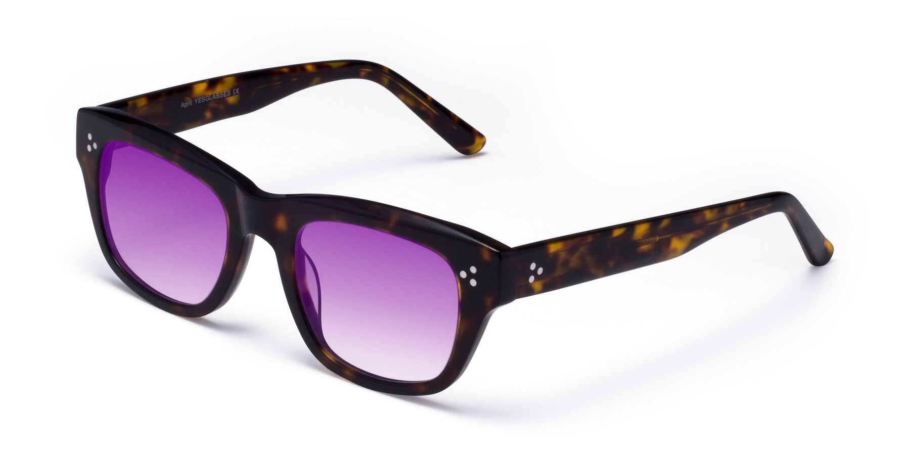 Angle of April in Tortoise with Purple Gradient Lenses