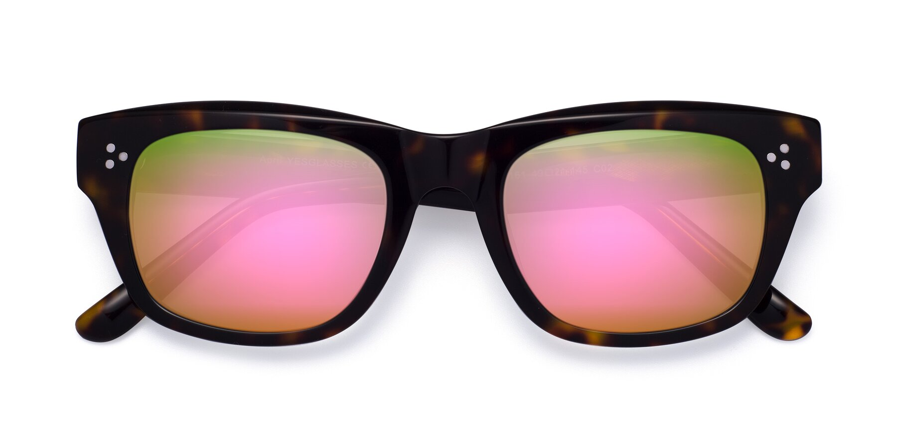 Folded Front of April in Tortoise with Pink Mirrored Lenses