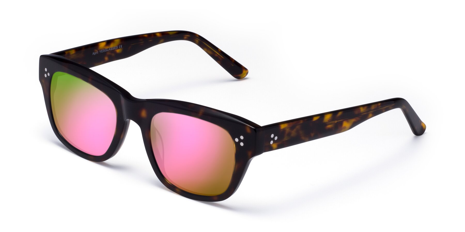 Angle of April in Tortoise with Pink Mirrored Lenses