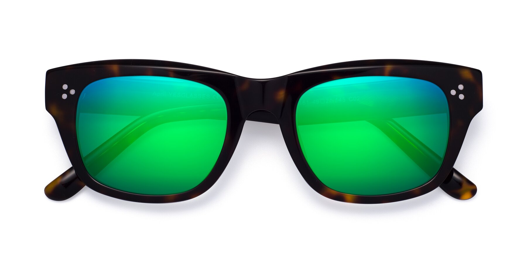 Folded Front of April in Tortoise with Green Mirrored Lenses