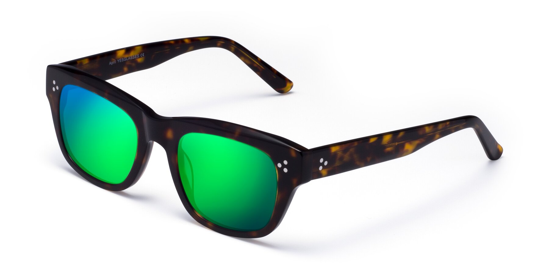Angle of April in Tortoise with Green Mirrored Lenses
