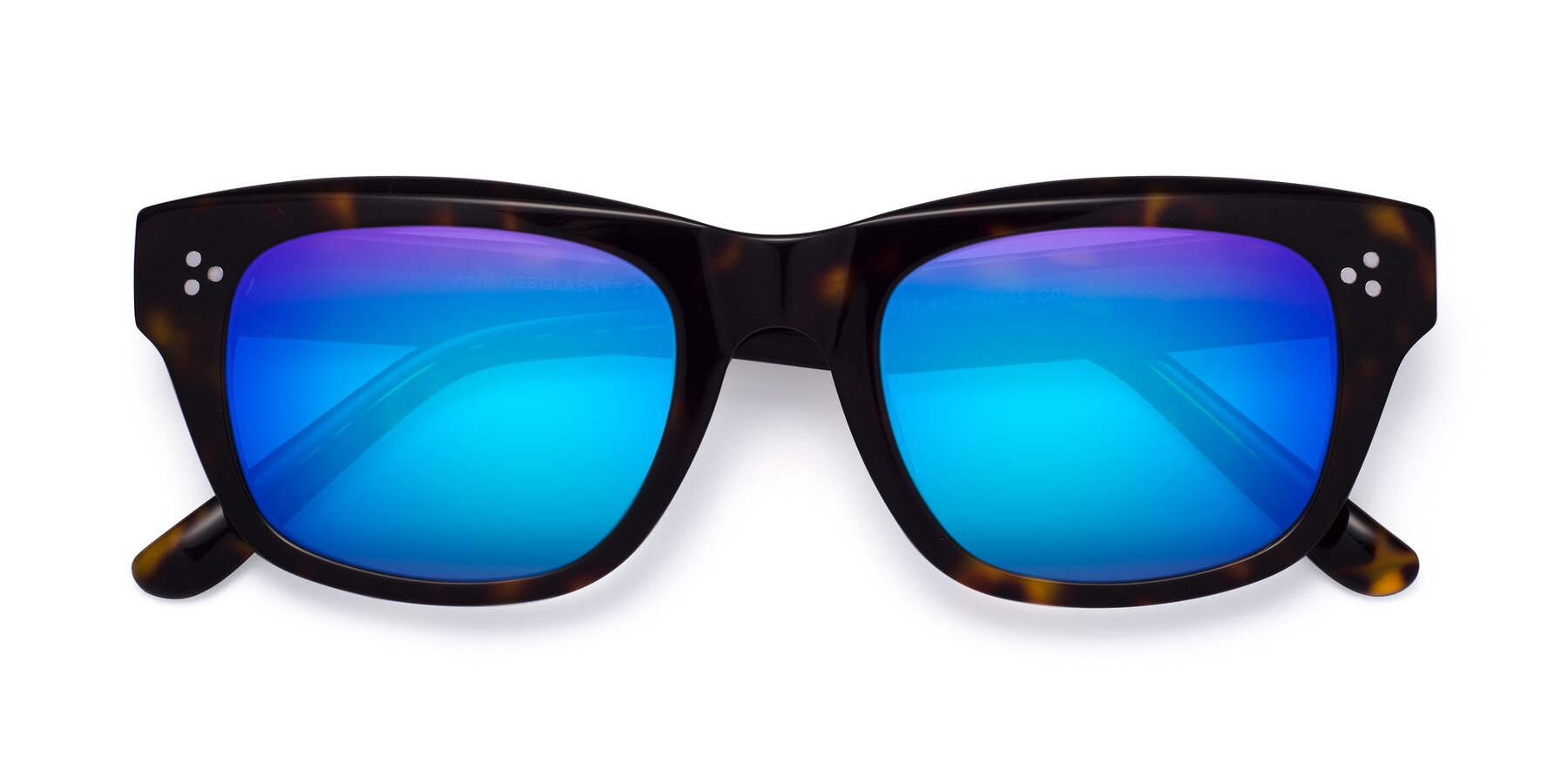 Folded Front of April in Tortoise with Blue Mirrored Lenses
