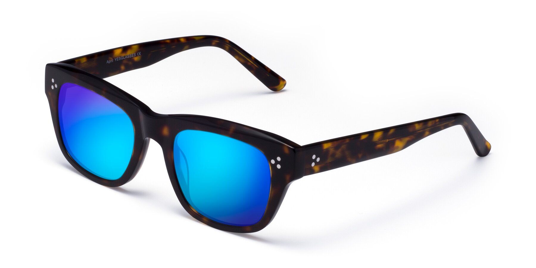 Angle of April in Tortoise with Blue Mirrored Lenses