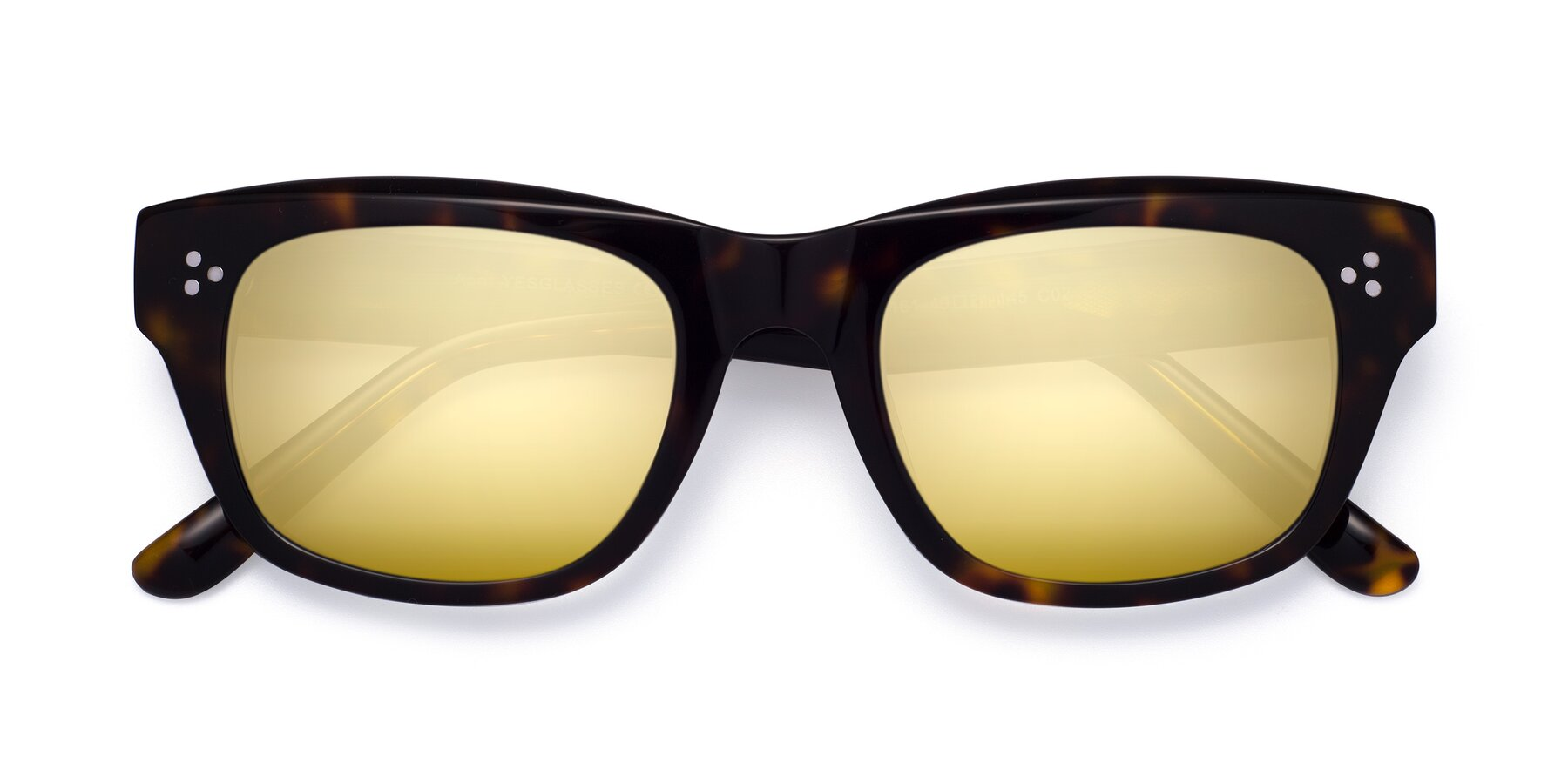 Folded Front of April in Tortoise with Gold Mirrored Lenses