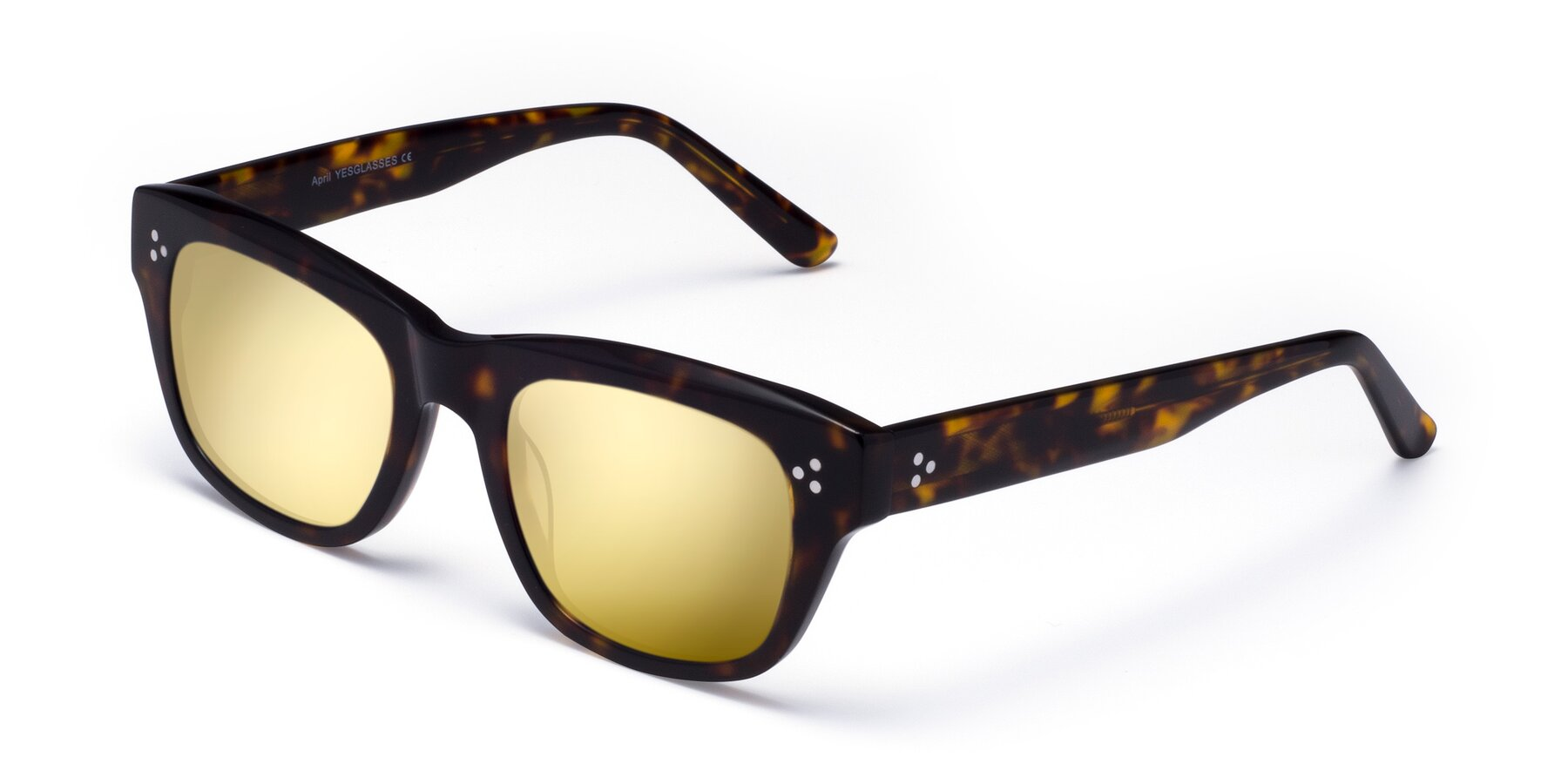 Angle of April in Tortoise with Gold Mirrored Lenses