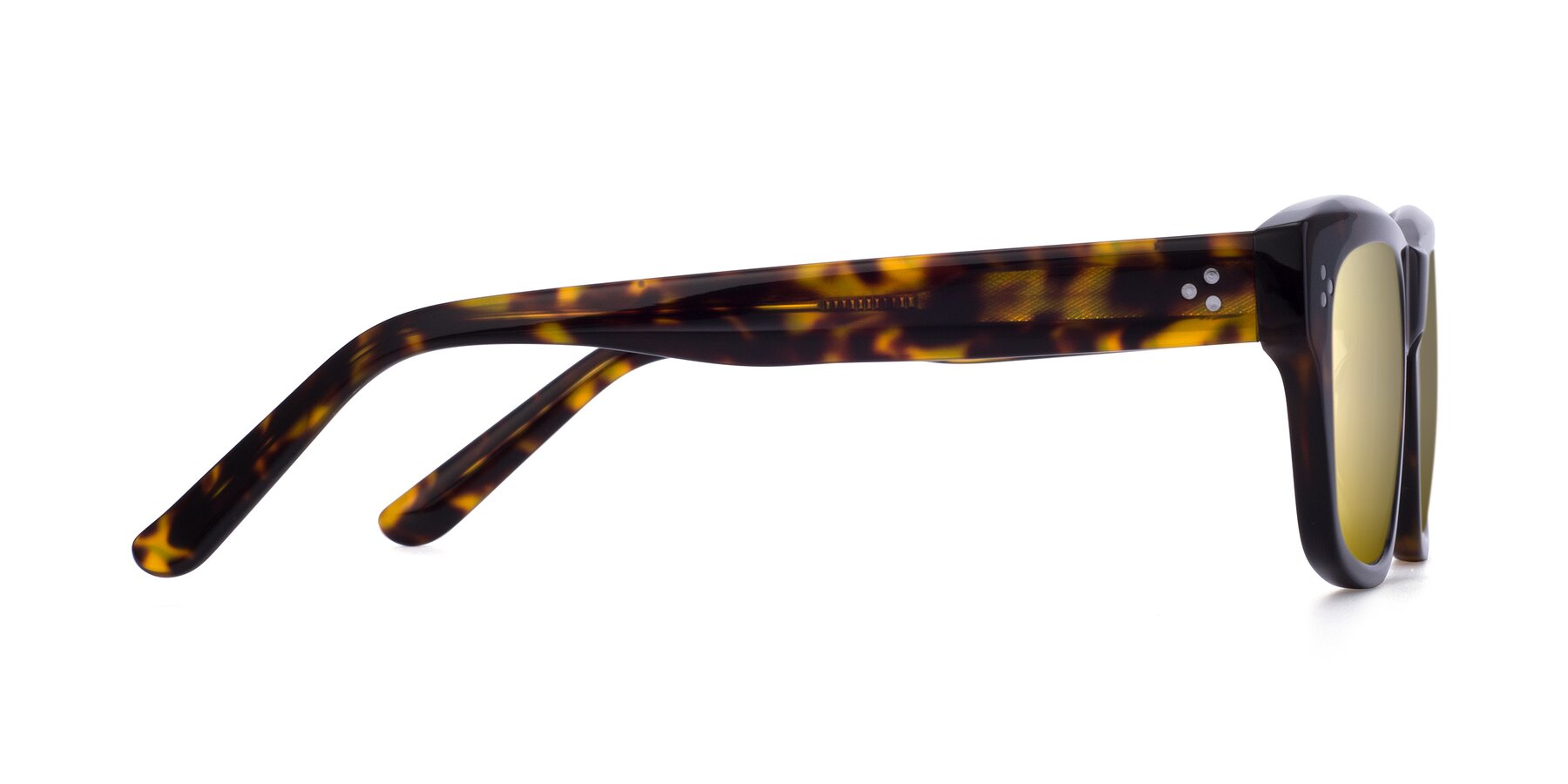 Side of April in Tortoise with Gold Mirrored Lenses