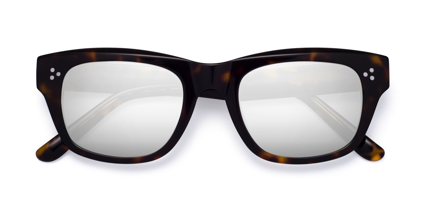 Folded Front of April in Tortoise with Silver Mirrored Lenses