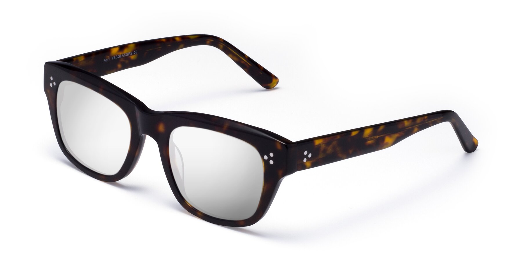 Angle of April in Tortoise with Silver Mirrored Lenses