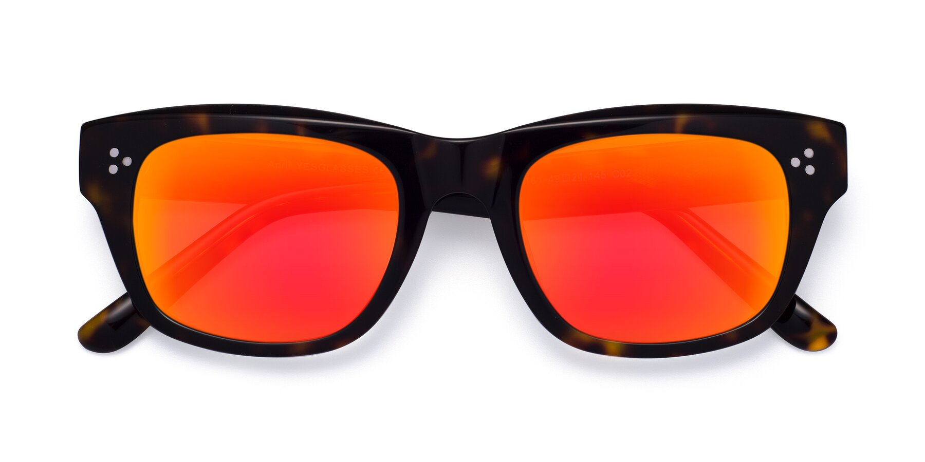 Folded Front of April in Tortoise with Red Gold Mirrored Lenses